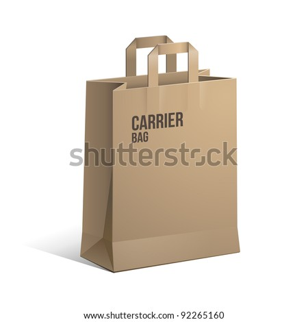 Carrier Paper Bag Brown Empty eps 10 - stock vector