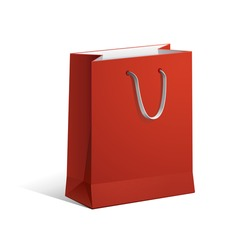 Carrier Paper Bag Red Empty EPS10