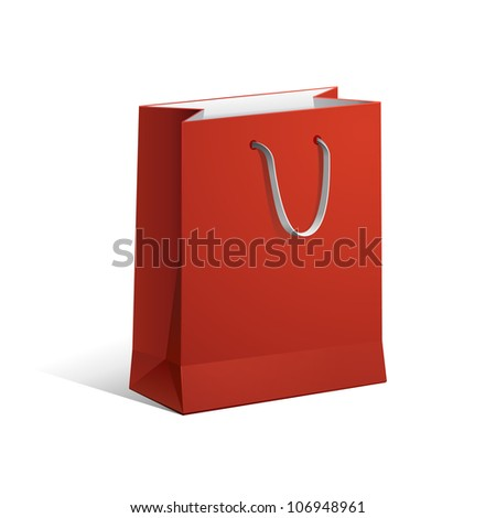 Carrier Paper Bag Red Empty EPS10 - stock vector