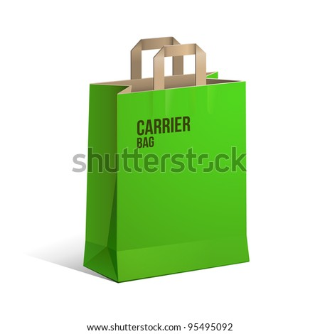 Carrier Paper Recycle Bag Brown And Green Empty EPS10