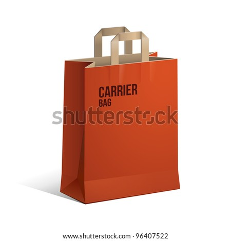Carrier Paper Recycle Bag Brown And Red Empty EPS10