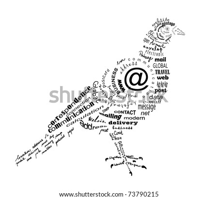 Pictures  Words on Carrier Pigeon Made Of Words Related To Communication Stock Vector