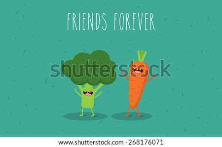Carrot broccoli cartoon vegetables illustration Vector cartoon Friends forever Comic characters