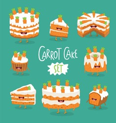 Carrot cake, cupcake, cookie vector illustration. Funny carrot cake set use for card, menu, stickers.