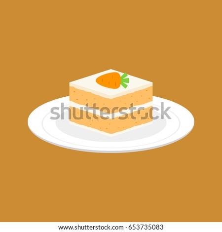 carrot cake in white plate, flat design vector
