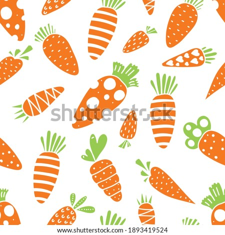 Carrot seamless pattern for Easter. Carrots and orange polka dots. Endless pattern can be used for ceramic tile, wallpaper, linoleum, textile, web page background