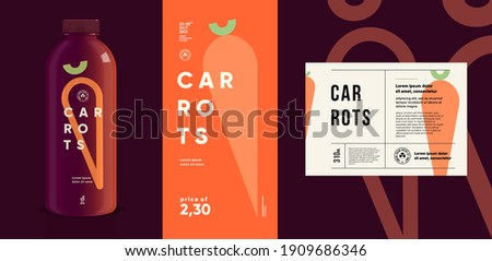Carrots. Flat vector illustration. Price tag, label, packaging and product poster. Label design template on a bottle. Minimalistic, modern label.