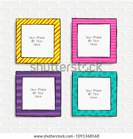 Carrtoon style. Decorative vector template frame. photo frames for kids picture or or funny photos. Scrapbook design concept. Insert your picture.