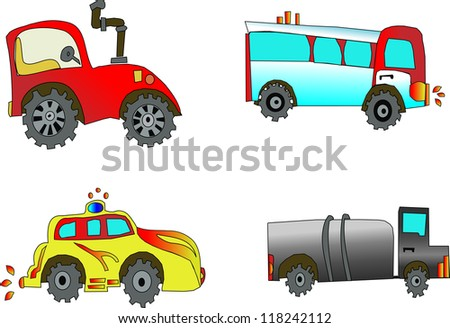 Cars. A collection from 4 cars. Vector illustration EPS 10.