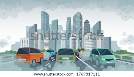 Cars air pollution. Polluted air environment at city, vehicle traffic and toxic pollution. Car with carbon dioxide clouds, vector concept. Pollution from vehicle, automobile transport illustration