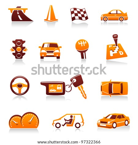 Cars and automotive vector icon set. Driver, traffic light, racing flag, automatic transmission, handle gear, cone, steering wheel, automobile dashboard, keys, road, speed, vehicles, auto symbols