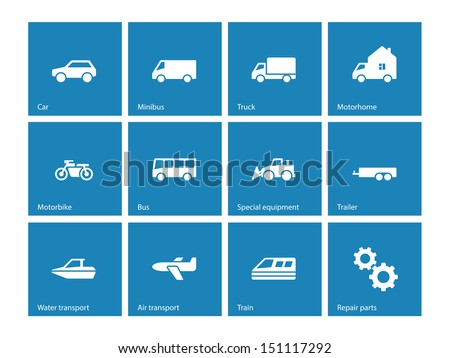 Cars and Transport icons on blue background. Vector illustration.