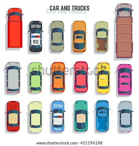 cars and trucks top view flat