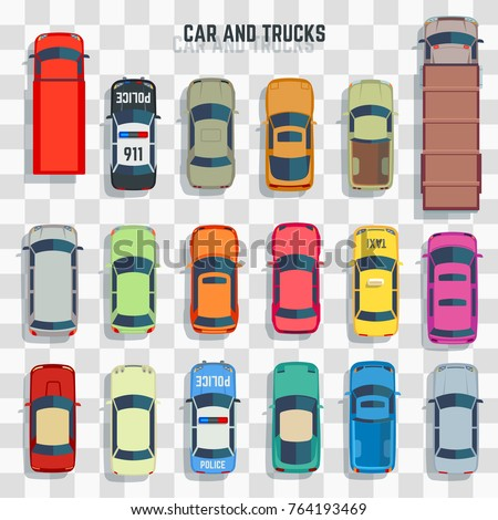 Cars and trucks top view isolated on transparent background. Vector illustration