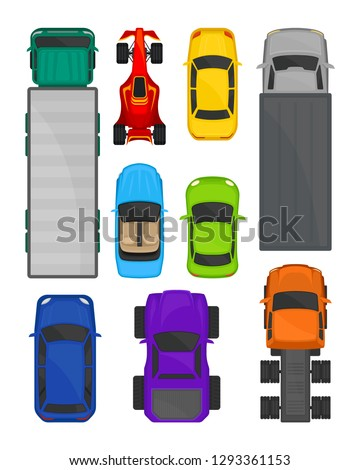 Cars and trucks top view set, city and cargo delivering transport, vehicles for transportation vector Illustration