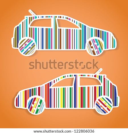 cars as color barcode, isolated illustration