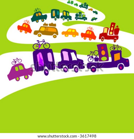 cars caravan, chain of cars on a road