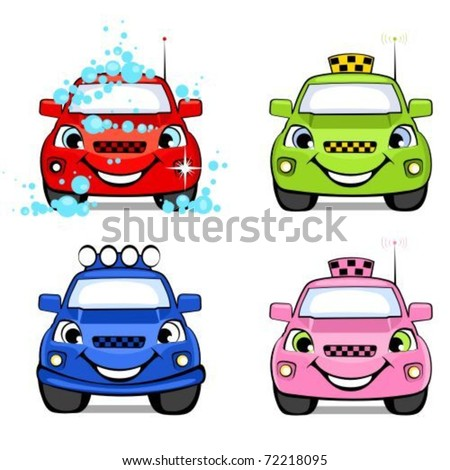 Cars cartoon taxi, off-road, car wash.