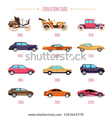 Cars evolution retro vehicles and modern transport isolated models vector transportation automobile industry history motorcar development classic and sport types mechanic and automotive control