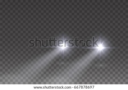 Cars flares light effect. Realistic white glow round car headlight beams isolated on transparent background. Vector bright train lights for your design.