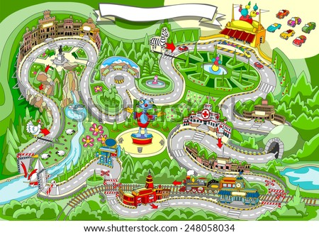 Vector Driving Game For Kids Download Free Vector Art Stock - Kids road map