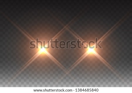 Cars headlight effect. Realistic yellow flares beams, spotlight isolated on transparent background. Vector bright spot lights, projector or golden rays.