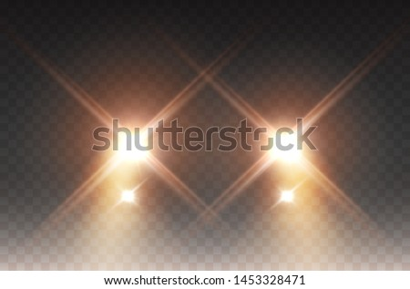 Cars headlight effect. Realistic yellow round flares beams isolated on transparent background. Vector bright car or train lights for your design.