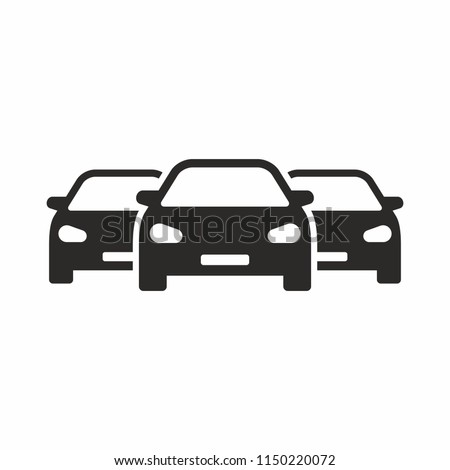 Cars icon. Cars for sale. New cars. Used cars.  Car dealership. Car sales. Vector icon isolated on white background.