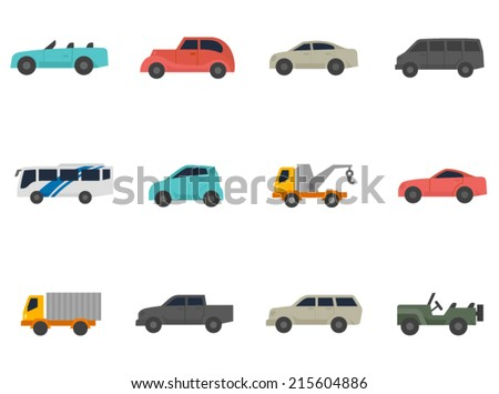 Cars icon series in flat colors style.