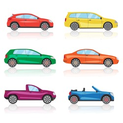 Cars icons set. 6 different colorful car. 3d sports car icon. car isolated, sports car, car icon, car vector, auto, automobile, car on road, race car. Cars vector EPS10