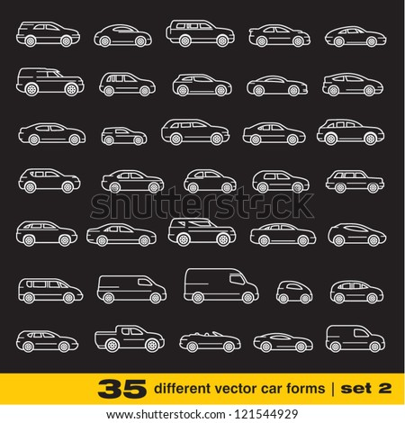 Cars icons set 2. 35 different outline vector car forms