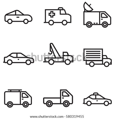 Cars icons set illustration design, line colour EPS10