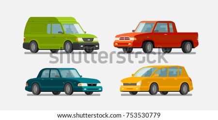 cars  icons set transport