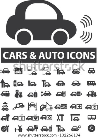 cars icons set, vector