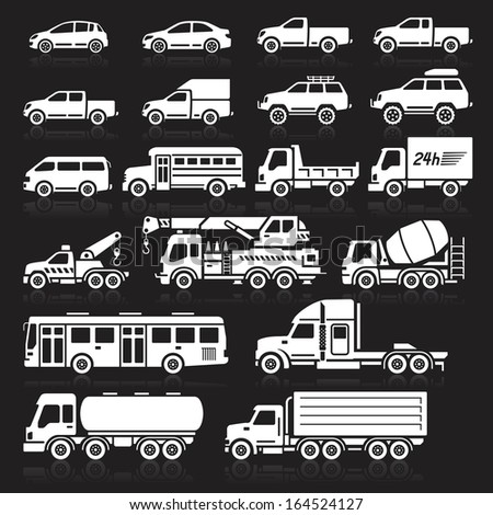 cars icons white color set
