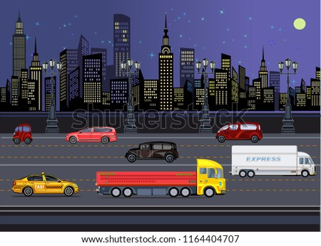 cars in night town