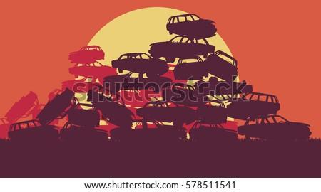 cars in salvage junkyard in