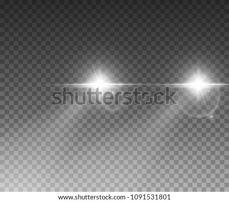 Cars light effect. White glow car headlight bright beams ray isolated on transparent background.