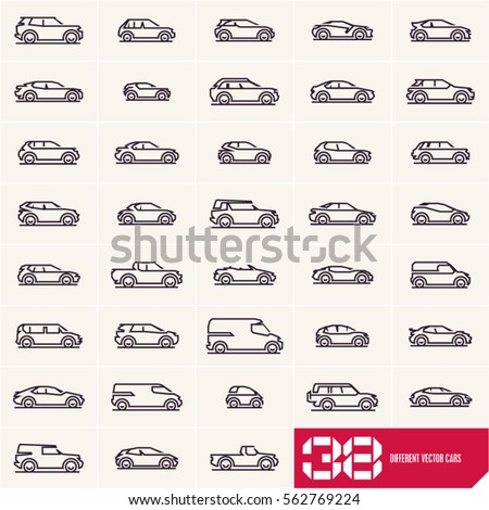Cars line icons set, different vector car types linear silhouettes, car logo deign templates