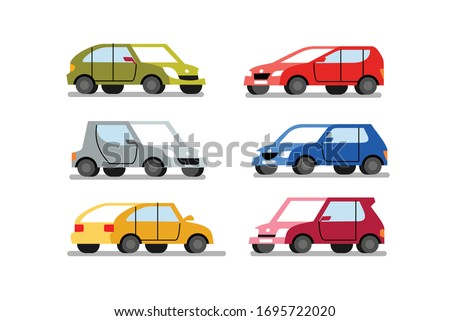 cars of different colors on a white background Foto d'archivio ©