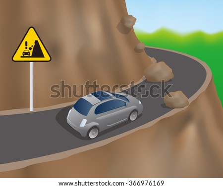 cars on the road on the cliff