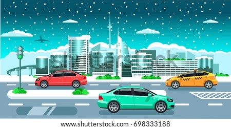 cars on the winter city