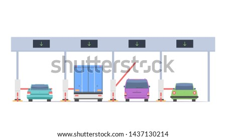 Cars pass through the checkpoint with barriers on the toll road. Vector illustration isolated on white background Сток-фото ©