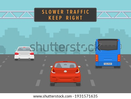 Cars passing through led sign at highway. Slower traffic keep right road rule. Back view. Flat vector illustration. Photo stock ©