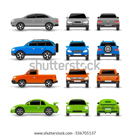 cars side front and back icons