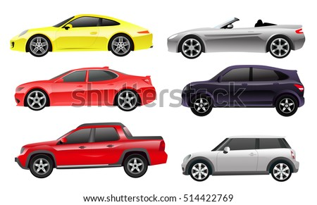 cars side view colored