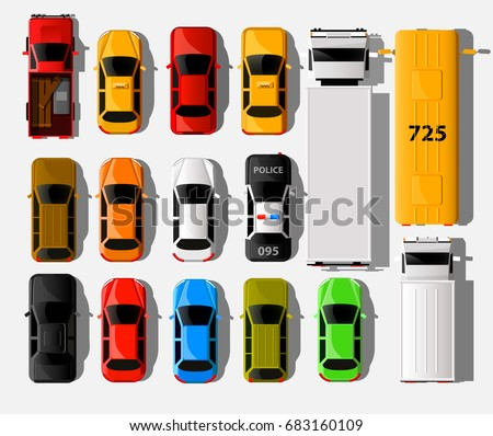 Cars top view. City vehicle transport icons set. Automobile car for transportation. Auto car vector illustration