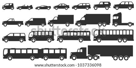 Cars, trucks and bus icons set. Vector silhouettes isolated on white. Various models and sizes of personal and commercial vehicles: sedan, pickup, suv, minivan, cargo van, truck, passenger buses.
