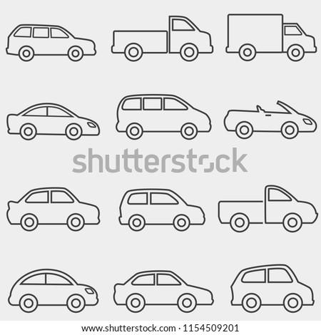 Cars, vans and trucks transportation web line icon set