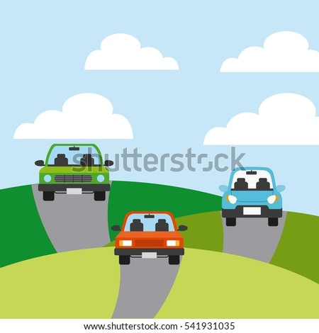 cars vehicles icon on mountains